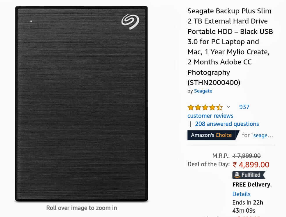 Seagate 2 Terabyte Hard Disk